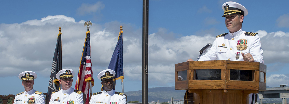 PEARL HARBOR (Sep. 07, 2018) - Cmdr. Christopher Lindberg addresses guests during the change of command ceremony of the Naval Submarine Support Command Pearl Harbor at the USS Bowfin Submarine Museum and Park in Pearl Harbor, Hawaii, Sep. 07. (U.S. Navy photo by Mass Communication Specialist 2nd Class Shaun Griffin/Released)