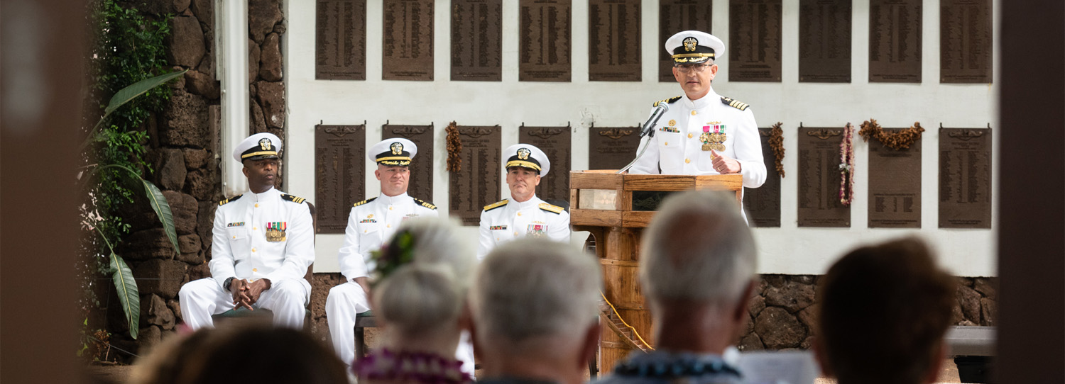 Photo By Petty Officer 1st Class Daniel Hinton | 190604-N-KC128-0280 JOINT BASE PEARL HARBOR-HICKAM, Hawaii (June 4, 2019) Capt. Andrew Hertel, salutes after the change of command ceremony of Naval Submarine Training Center Pacific (NSTCP) at Parche Memorial on Joint Base Pearl Harbor-Hickam, Hawaii, June 4, 2019. Capt. Andrew Hertel, was relieved by Capt. Lance Thompson, after more than 30 months in command. (U.S. Navy Photo by Mass Communication Specialist 1st Class Daniel Hinton)